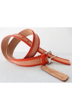 CINTURA SPECIALI AL CAMPIONE art. 472 SAFFIANO mm.35 var.82 arancio e bianco +bordatura ripiegata NAPPA CALF var.8 arancione fibbia I 155 mm.35 argento inglese free (1)