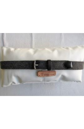 art. 813 LANA in intreccio tubolare bicolore mm.40 var.12-2 grigio polvere - t.moro Fibbia Standard I 186 mm.35 argento inglese free