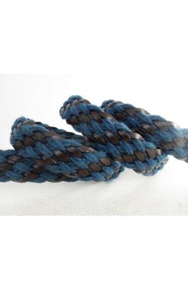 art. 89 INTRECCIO PELLE E LANA TRAVERSE mm.35 col. t.moro e blu (1)
