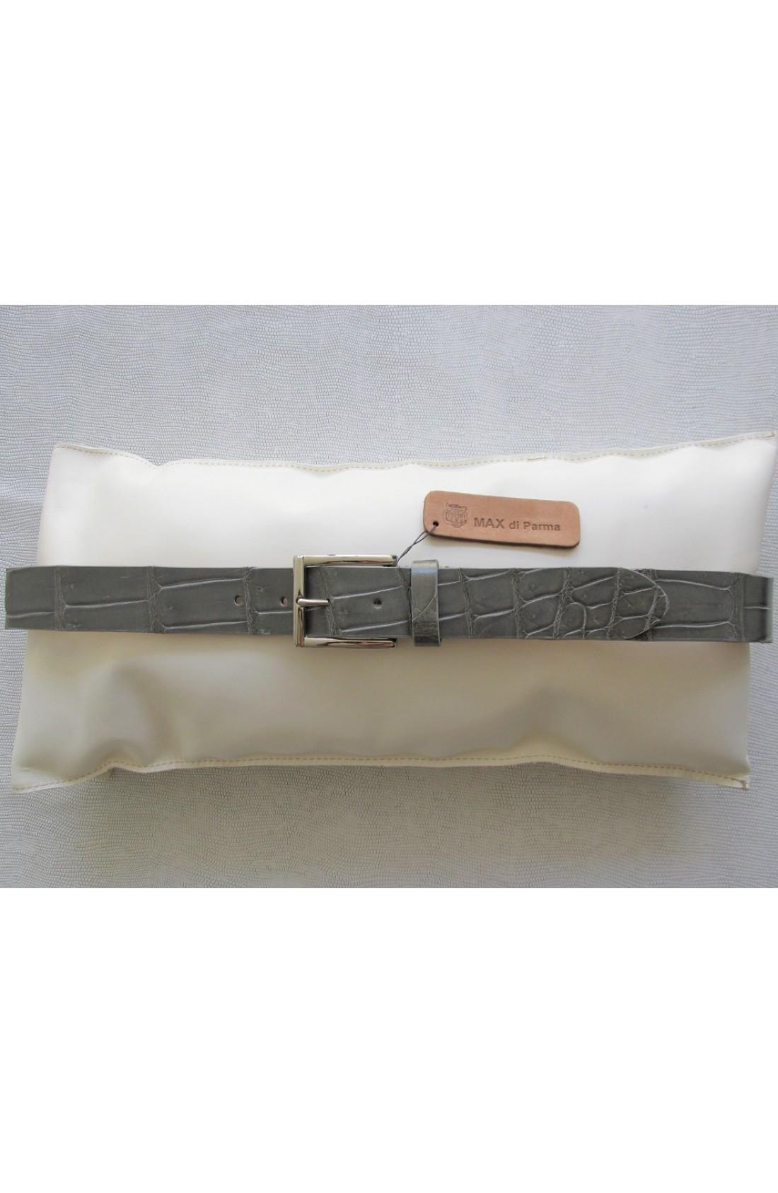 art.125 COCCODRILLO VERO pancia alligatore louisiana mm.35 var.12 grigio polvere fibbia I 113 mm.35 nikel free