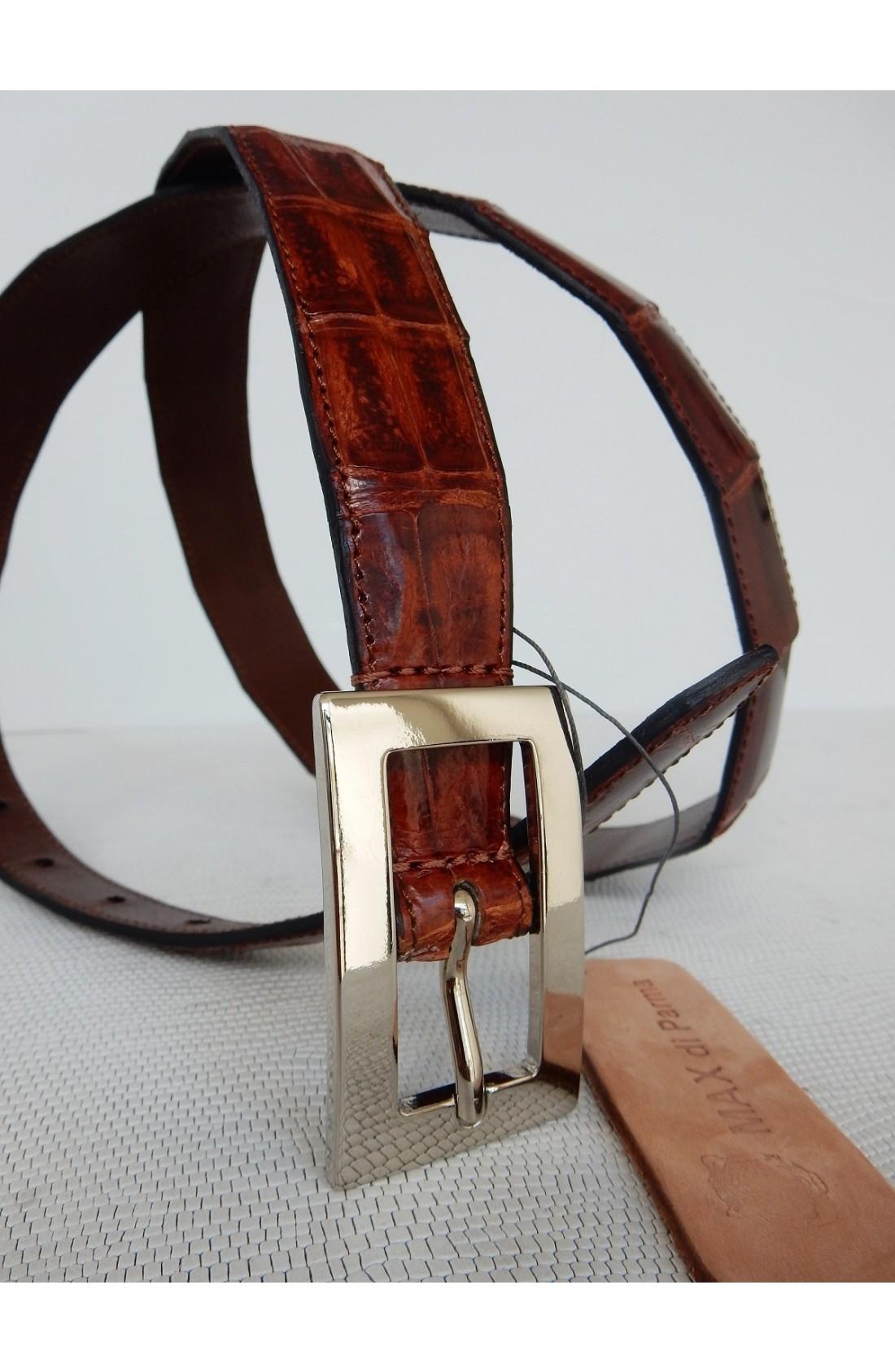 art.151 COCCODRILLO VERO coda caimano yacarè svasata da mm.30 a mm. 20 var.3 brandy fibbia B 919 mm.20 nikel free (4)