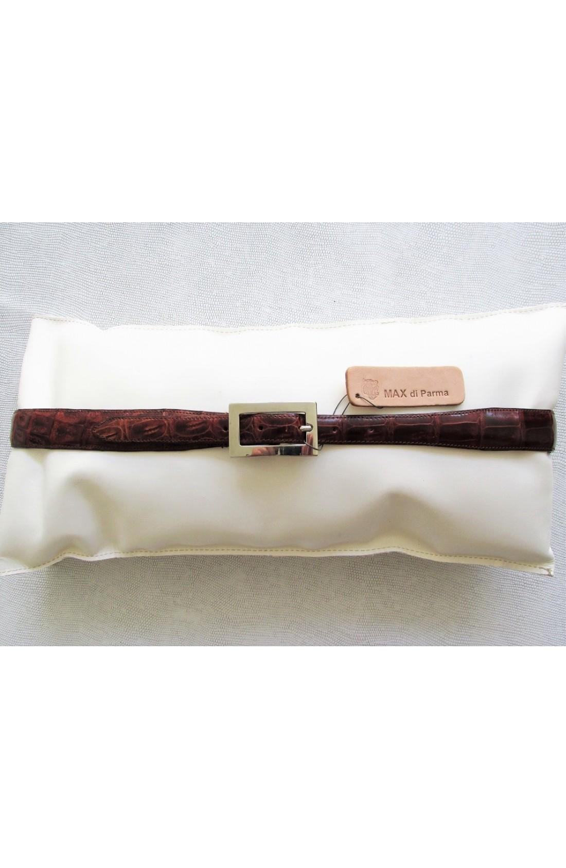 art.151 COCCODRILLO VERO coda caimano yacarè svasata da mm.30 a mm. 20 var.3 brandy fibbia B 919 mm.20 nikel free (5)
