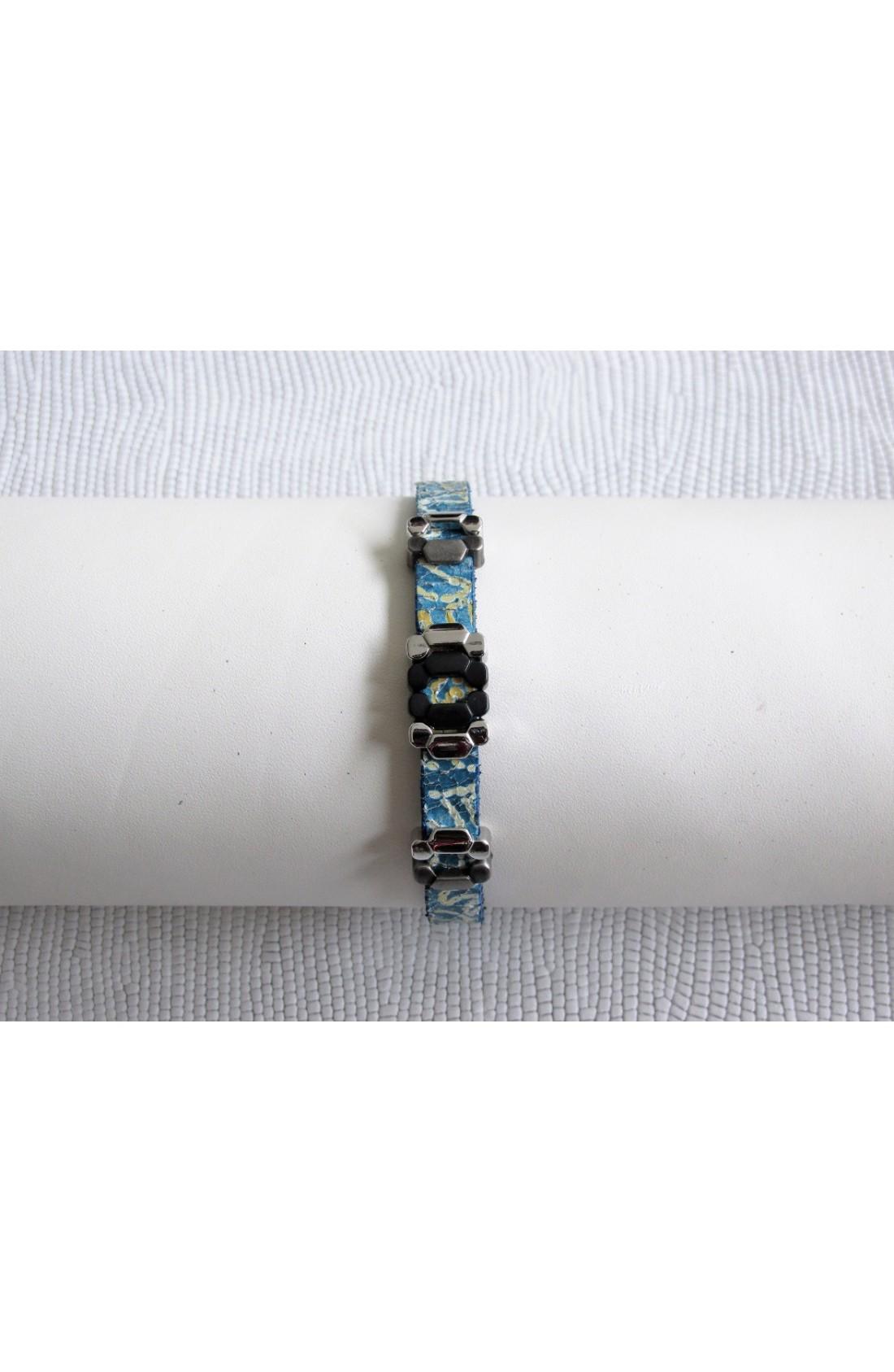 art. 10004 BRACCIALETTO mm.8 INDIAN anticato effetto decorativo cracklè var.55 turchese (1)