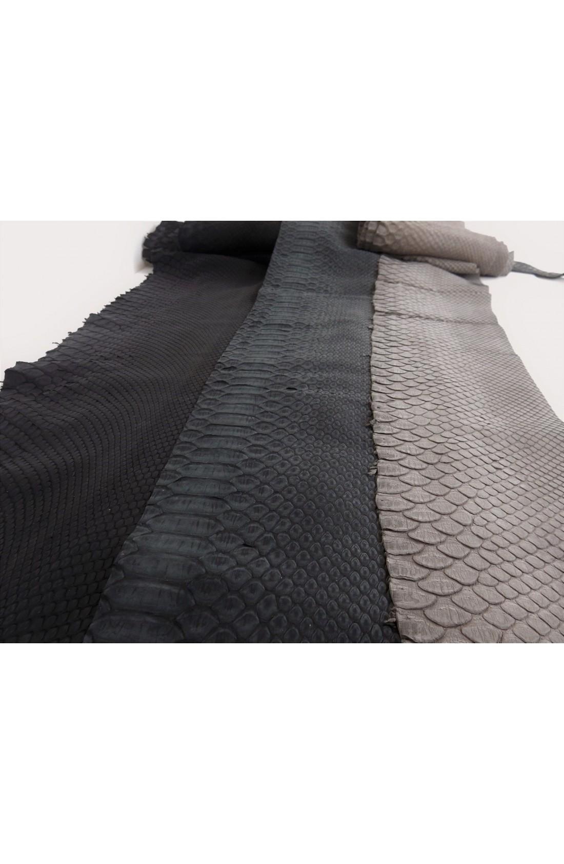art. 22 PITONE VERO opaco decolorato smerigliato var.1 nero + 11 antracite + 12 grigio polvere