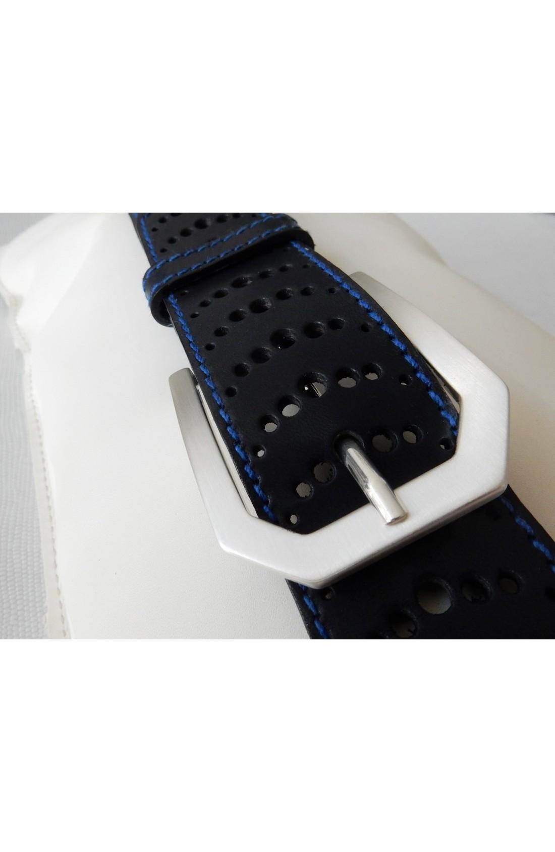 art. 499 ingrassato selleria KANSAS CUOIO su toro mm.40 var.5 blu (con serie di fori lungo tutta la cintura) fibbia standard Z 48 argento satinato (3)