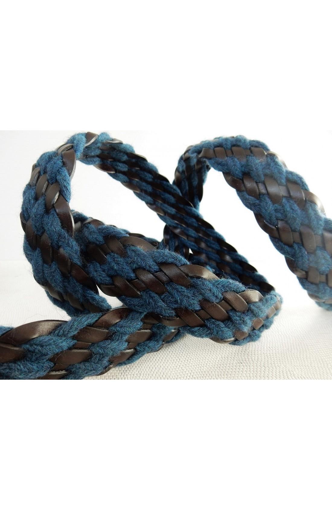 art. 89 INTRECCIO PELLE E LANA TRAVERSE mm.35 col. t.moro e blu (2)