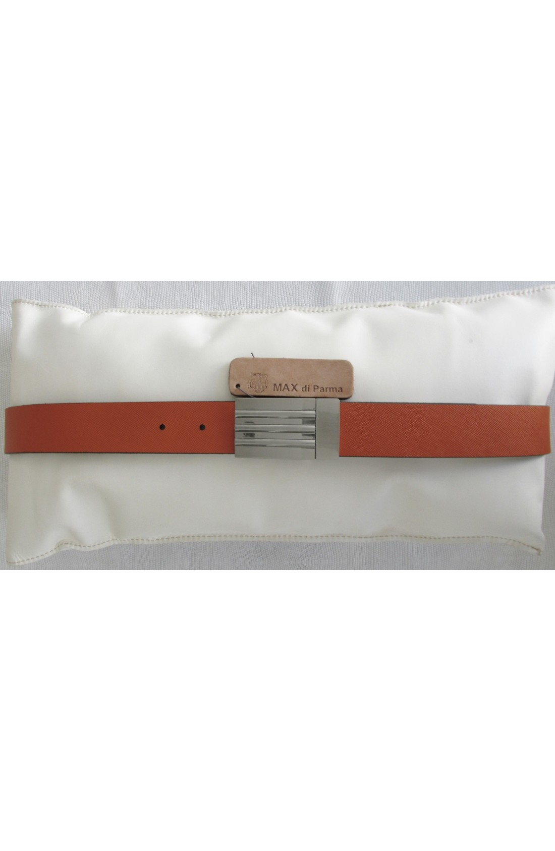 art. 842 LINEA REVERSIBILE mm.35 DAKAR var.103 nocciola + SAFFIANO var.8 arancione Placca reversibile girevole Y 03 mm.35 nikel free satinato (2)