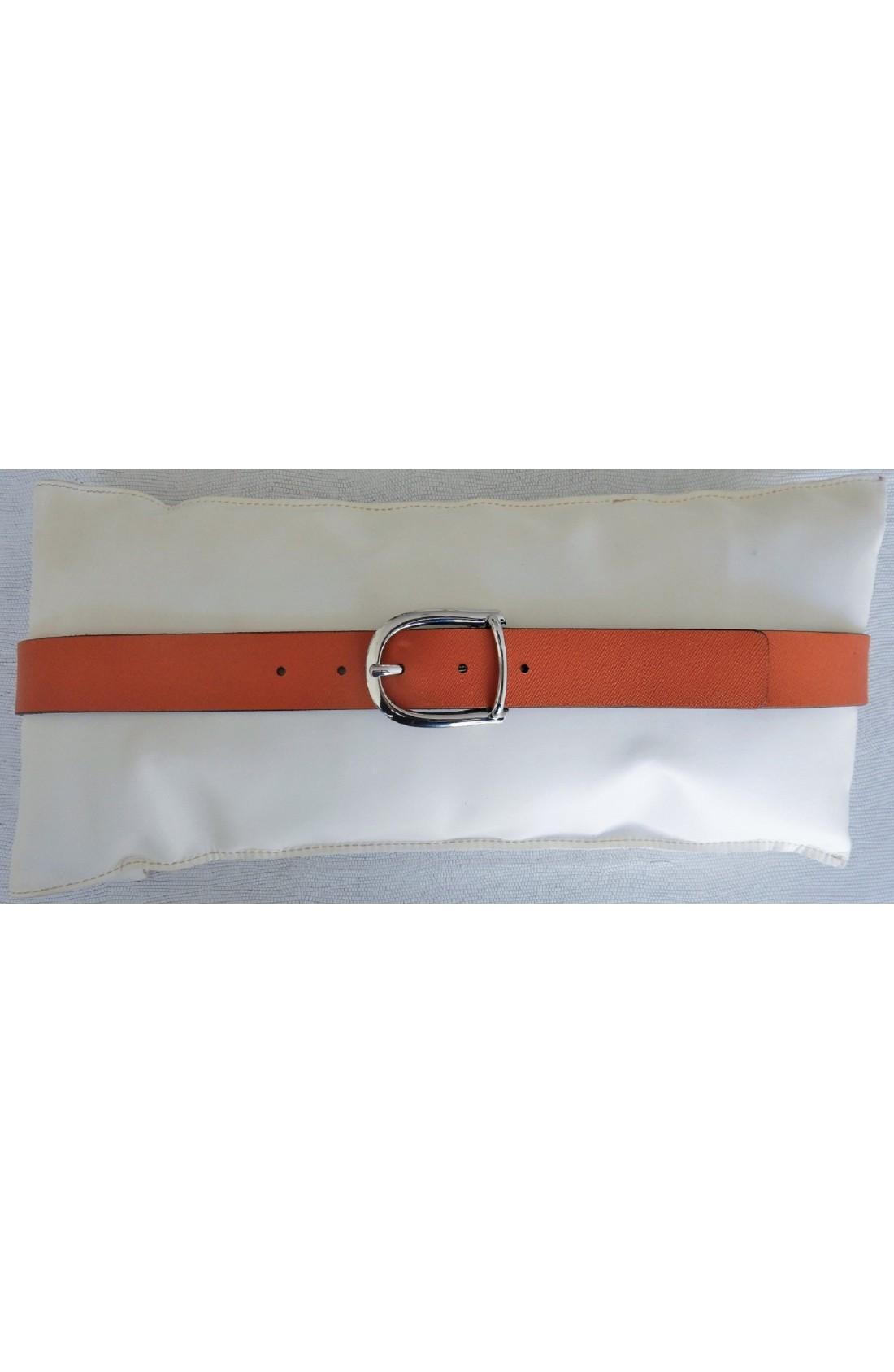 CINTURA DONNA art. 473 SAFFIANO mm.35 var. 8 arancione Fibbia Standard L 66 mm.35 nikel free (3)