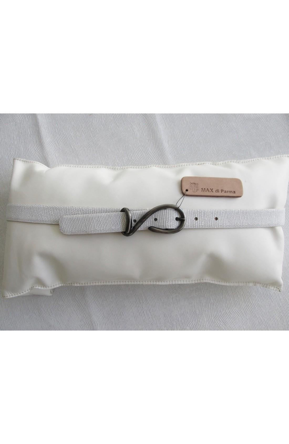 CINTURA DONNA art. 531 LUCERTOLA CUT mezzo vitello con intagli mm.25 var.0 bianco FIbbia Speciale H 35 mm.25 canna fucile satinato free (3)