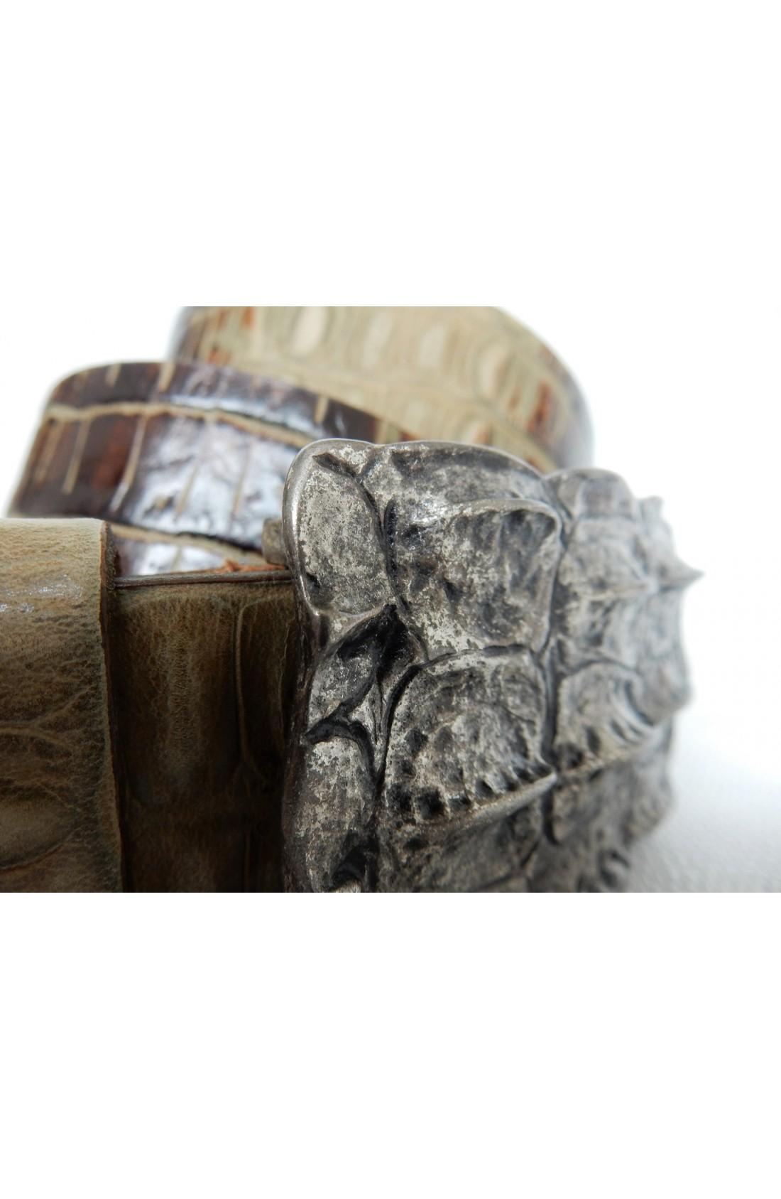 CINTURA UNISEX art.311 COCCO CROCK stampa su vitello mm.35 var.41 taupe placca squam coccP 20 (2)
