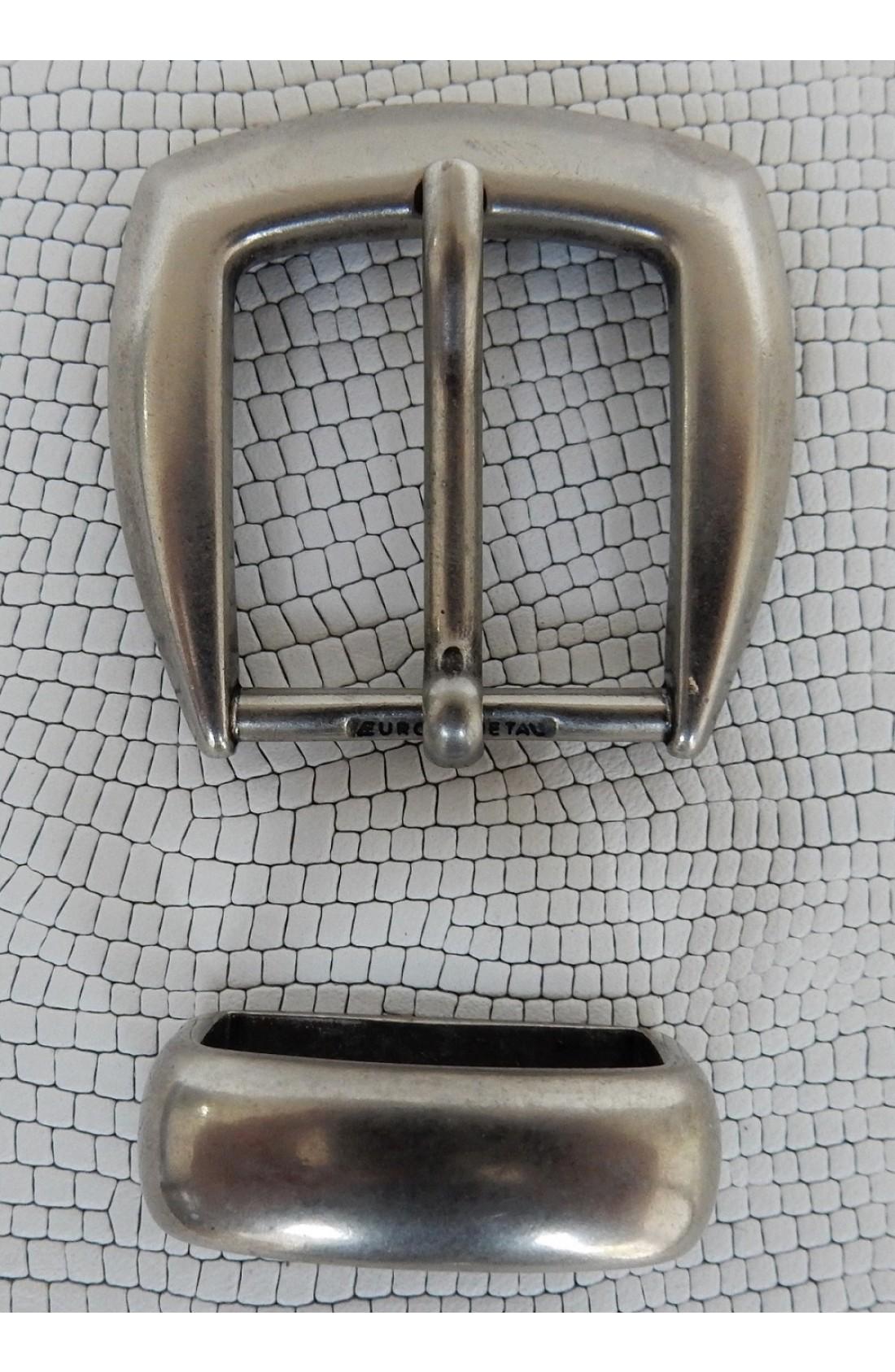 Fibbia Standard + passante L 147 mm.25 argento vecchio lucido (1)