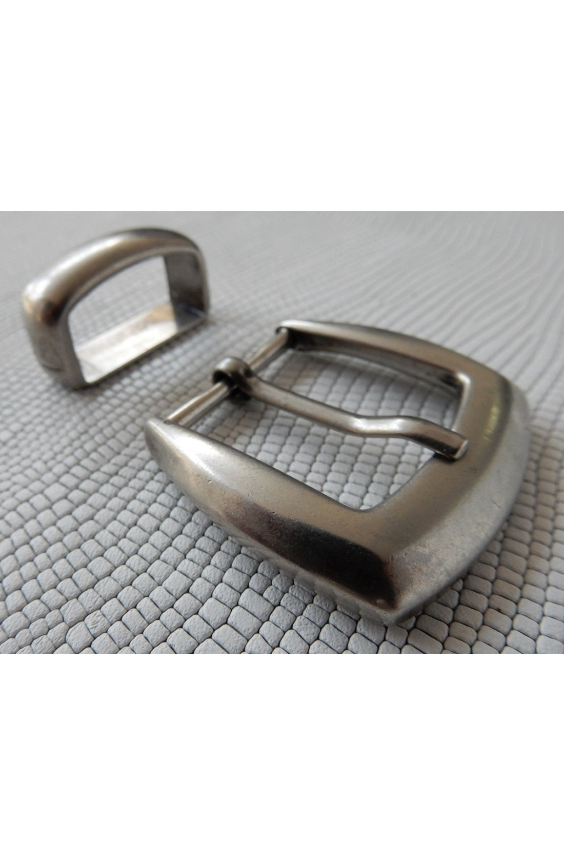 Fibbia Standard + passante L 147 mm.25 argento vecchio lucido (3)